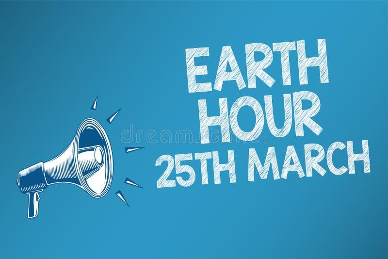 显示地球小时3月25日的概念性手文字 企业照片文本对行星的标志承诺组织了全世界资金S 向量例证