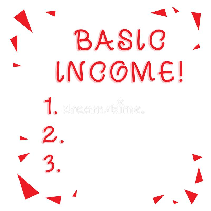 显示基本的收入的文本标志 概念性照片周期性现金支付绝对地提供了红色的最低收入 皇族释放例证