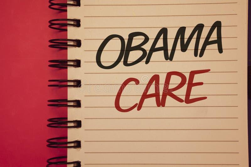 显示奥巴马关心的文字笔记 陈列保险系统患者ProtectionIdeas想法m的政府项目企业照片 图库摄影