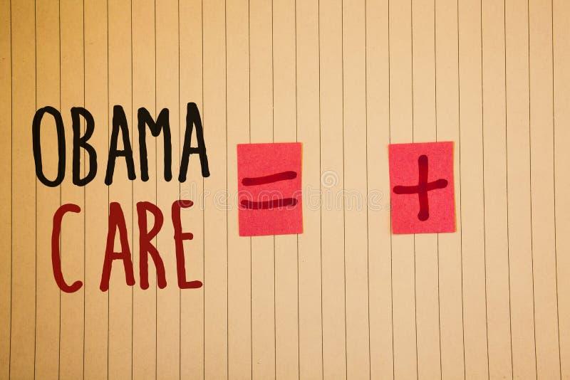 显示奥巴马关心的文字笔记 陈列保险系统患者ProtectionIdeas messag的政府项目企业照片 免版税库存照片