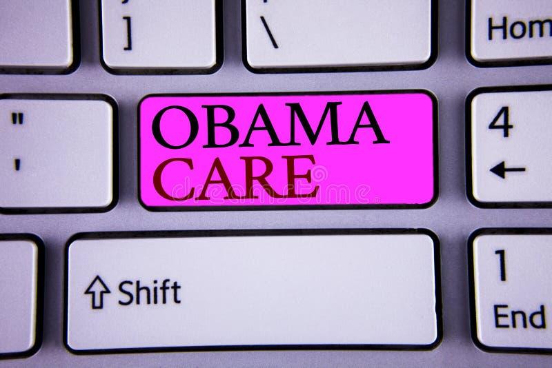 显示奥巴马关心的文本标志 保险系统患者保护概念性照片政府项目  库存照片