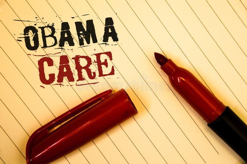 显示奥巴马关心的文本标志 保险系统患者被创造的ProtectionIdeas消息概念性照片政府项目  库存照片