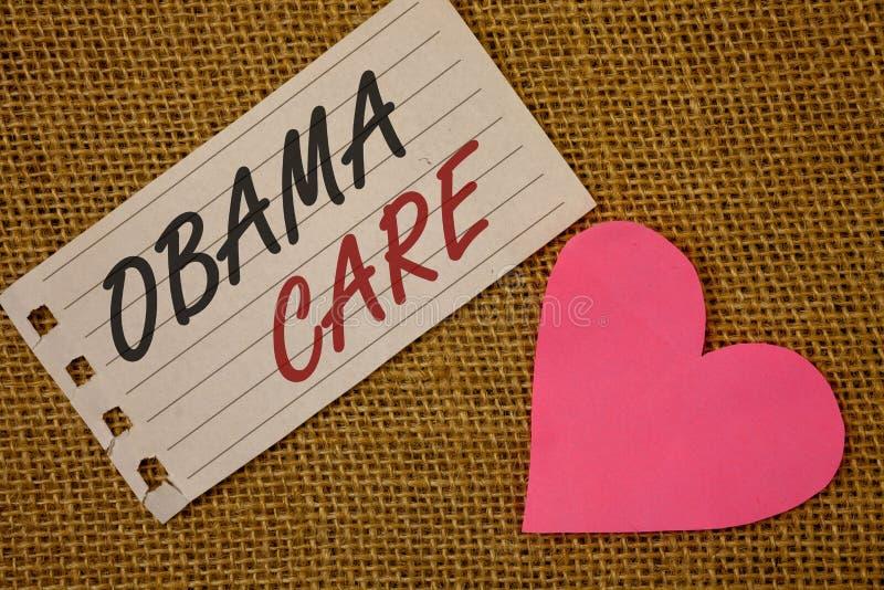 显示奥巴马关心的文本标志 保险系统患者ProtectionNotebook页柳条后面概念性照片政府项目  图库摄影
