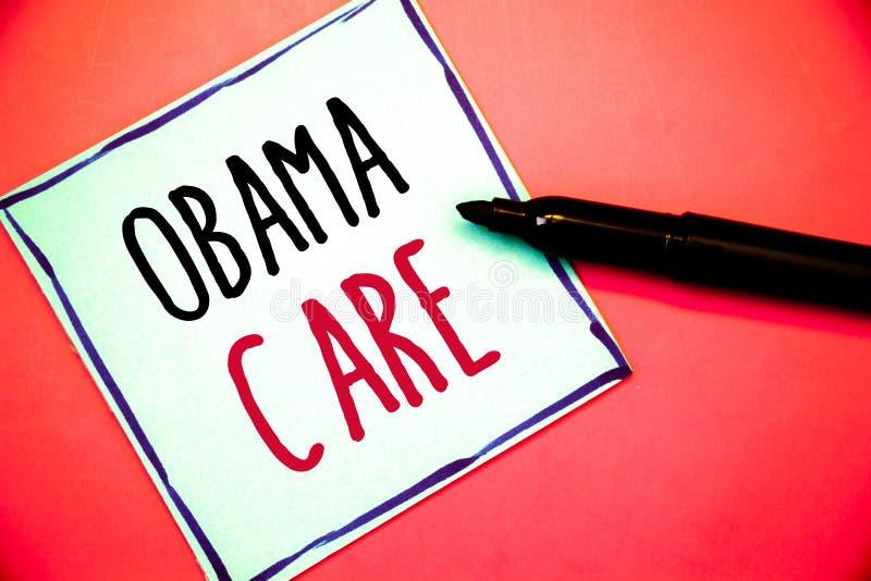 显示奥巴马关心的概念性手文字 企业照片发短信给保险系统患者ProtectionIdeas政府项目我 免版税库存图片