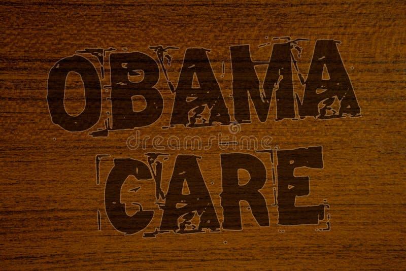 显示奥巴马关心的概念性手文字 陈列保险系统患者ProtectionBo的政府项目企业照片 免版税库存图片