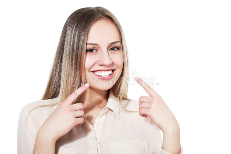 显示她完善的牙 库存照片