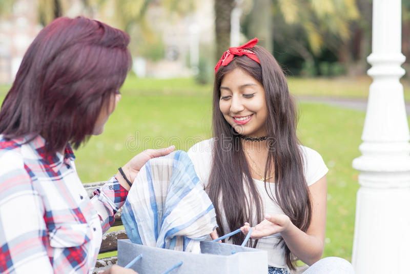 显示她新的衣裳的微笑的妇女对她的朋友 免版税库存图片