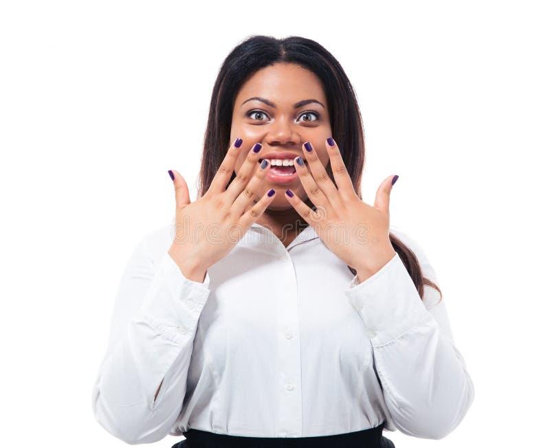 显示她的修指甲的非洲女实业家 库存照片