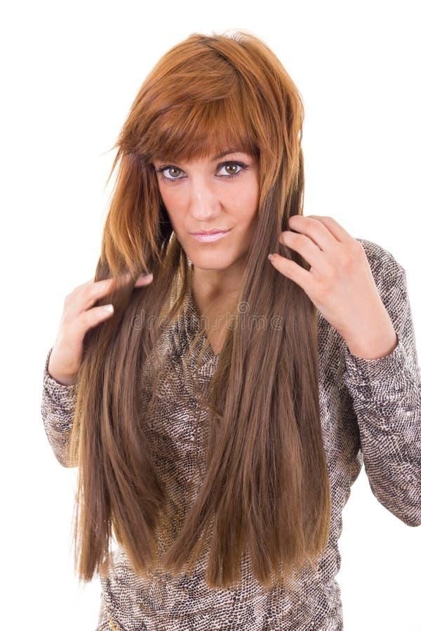 显示她的头发引伸的女孩 库存照片