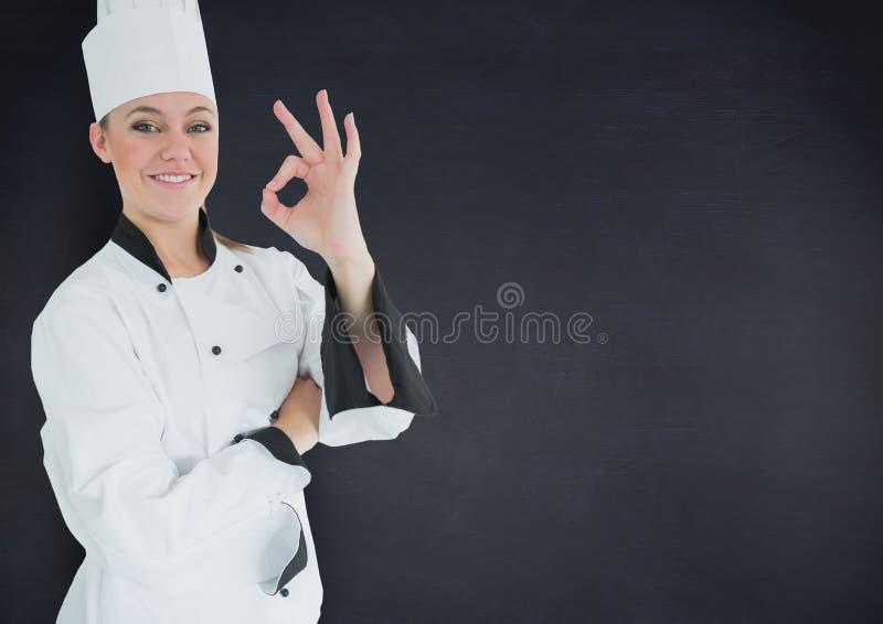 显示好反对黑背景的女性厨师 向量例证