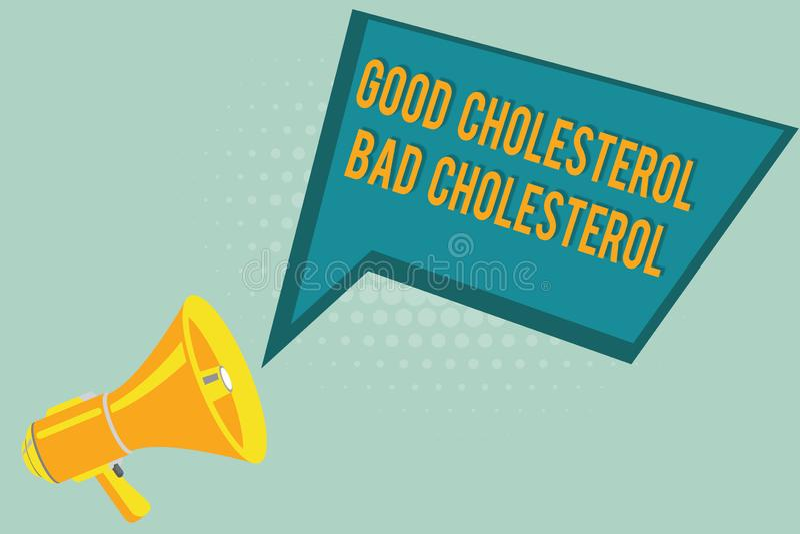 显示好胆固醇坏胆固醇的文本标志 在血液的概念性照片油脂来自我们吃的食物 皇族释放例证