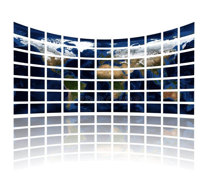 显示媒体多屏幕的地图集 向量例证