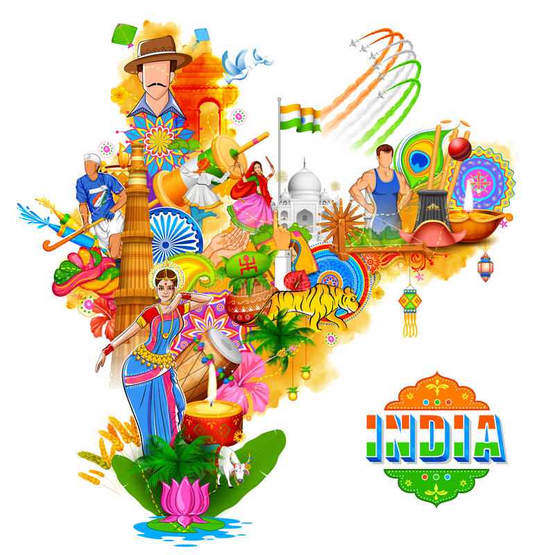 显示它难以置信的文化和变化与纪念碑的印度背景,舞蹈节日 库存例证