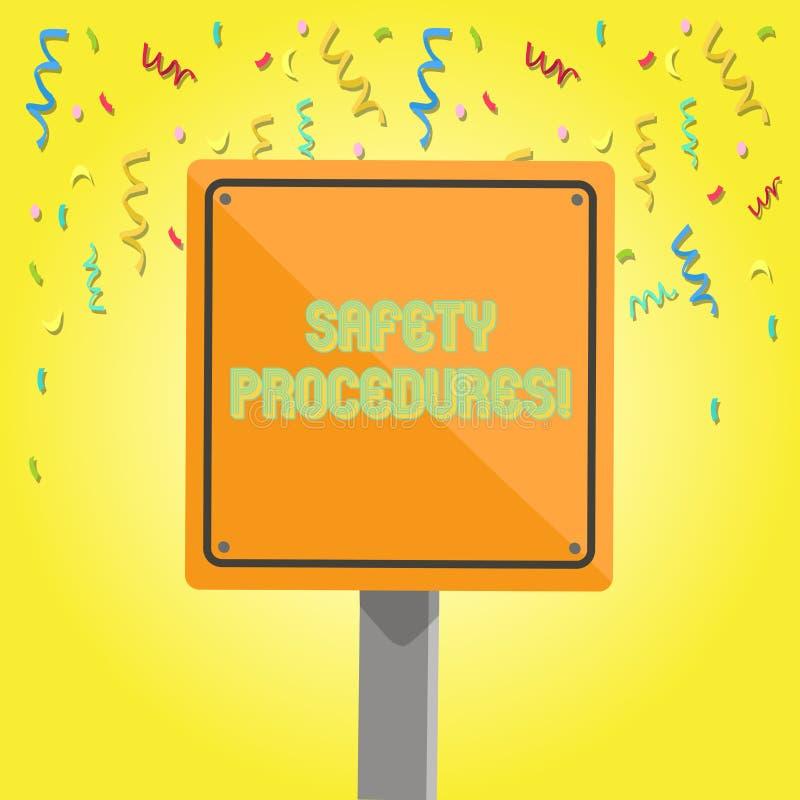 显示安全程序的文本标志 概念性照片遵守条例工作场所安全3D正方形的 皇族释放例证