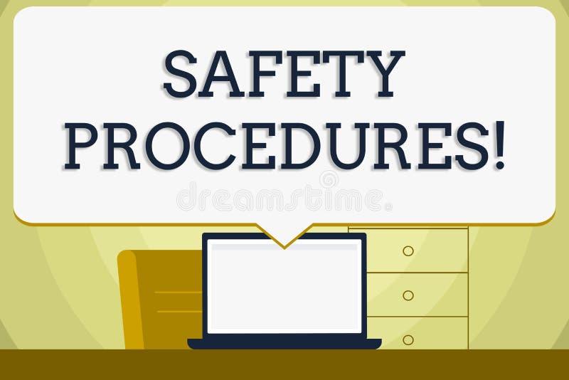 显示安全程序的概念性手文字 企业照片陈列遵守条例工作场所的 皇族释放例证