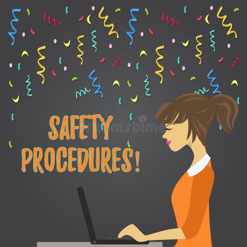 显示安全程序的概念性手文字 企业照片陈列遵守条例工作场所的 向量例证