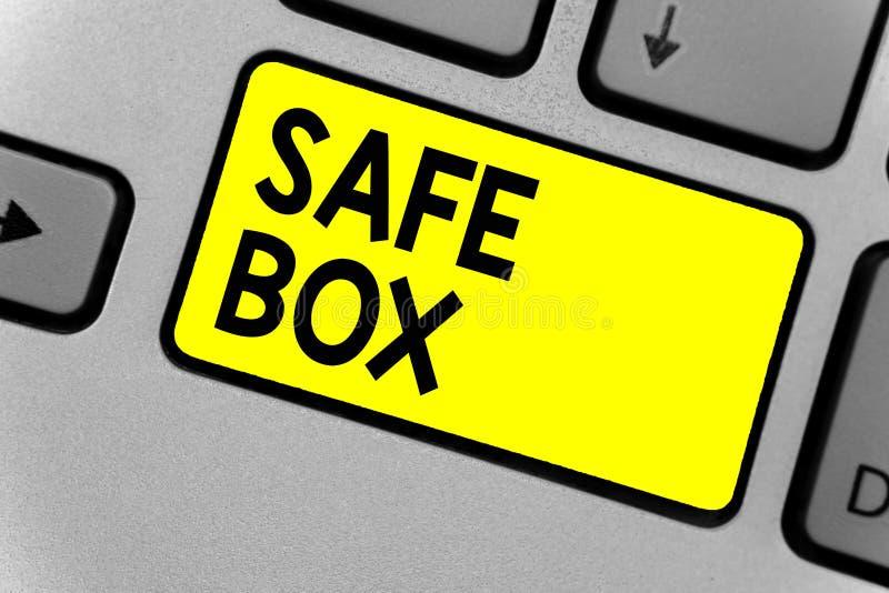 显示安全箱子的文字笔记 陈列您能保留重要或可贵的事Keyboar的A小结构的企业照片 库存照片