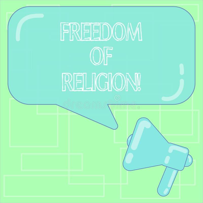 显示宗教信仰自由的文本标志 概念性照片权利奉行任何宗教一选择扩音机照片 库存例证