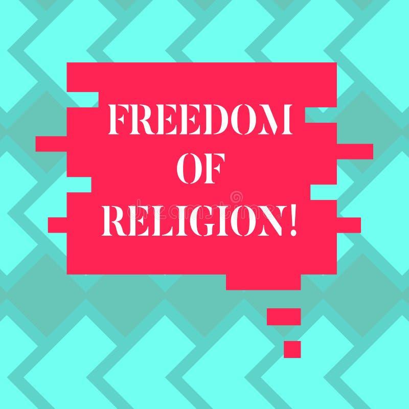 显示宗教信仰自由的文本标志 概念性照片权利奉行任何宗教一选择空白的颜色 向量例证