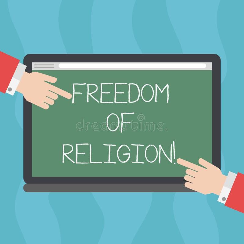 显示宗教信仰自由的概念性手文字 企业照片文本权利奉行任何宗教一选择 皇族释放例证