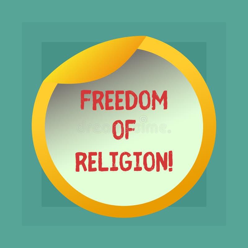 显示宗教信仰自由的概念性手文字 企业照片陈列的权利奉行任何宗教一 皇族释放例证