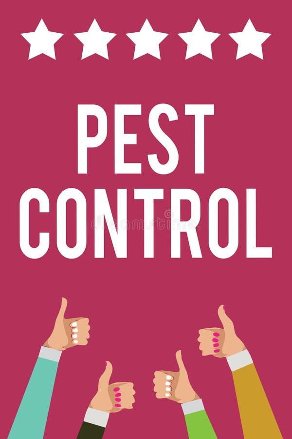 显示害虫控制的文字笔记 攻击庄稼和家畜人wome陈列的企业的照片杀害破坏性的昆虫 库存例证
