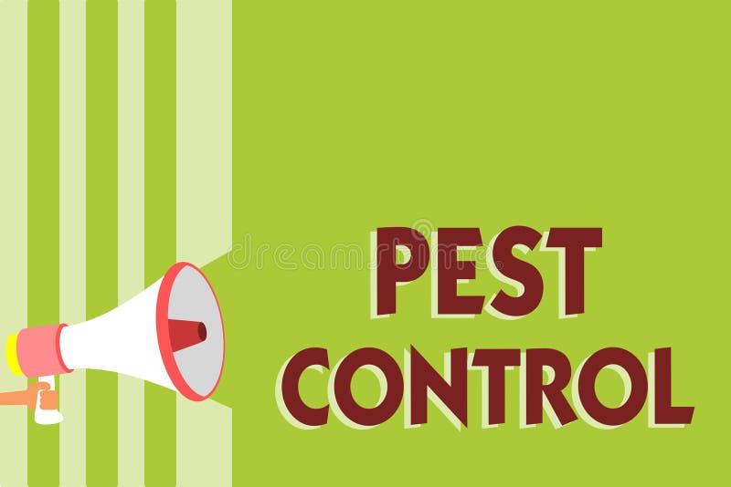 显示害虫控制的文字笔记 攻击庄稼和家畜Megaphon陈列的企业的照片杀害破坏性的昆虫 皇族释放例证