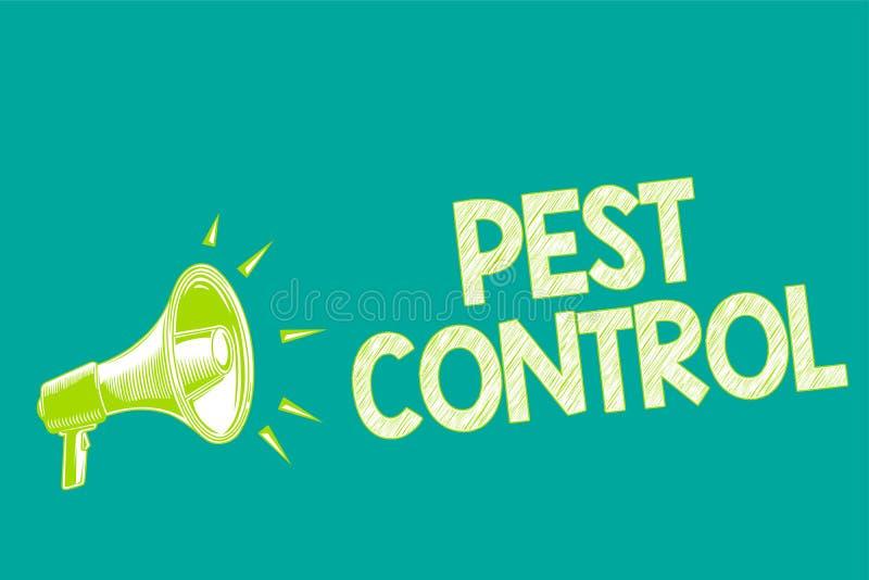 显示害虫控制的文本标志 攻击庄稼和家畜扩音机loudspeake杀害破坏性的昆虫的概念性照片 库存例证
