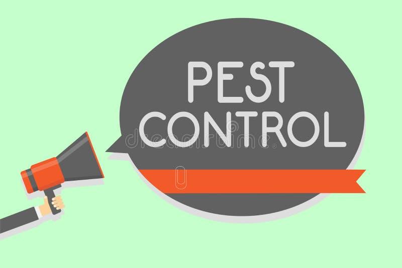 显示害虫控制的概念性手文字 攻击庄稼和livesto陈列的企业的照片杀害破坏性的昆虫 皇族释放例证