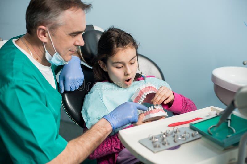 显示对女孩的小儿科牙医在牙医椅子牙齿下颌模型在牙齿诊所 图库摄影