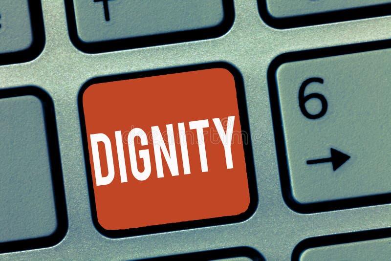 显示尊严的概念性手文字 是企业照片陈列的质量值得的严肃荣誉的尊敬 免版税库存照片