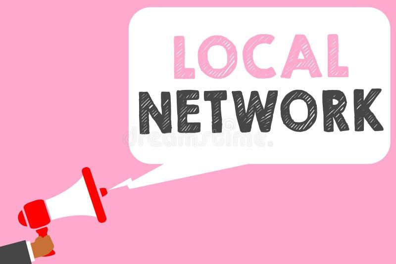 显示局部网络的文本标志 拿着扩音机l的概念性照片内部网LAN无线电波DSL Boradband开关连接人 库存例证