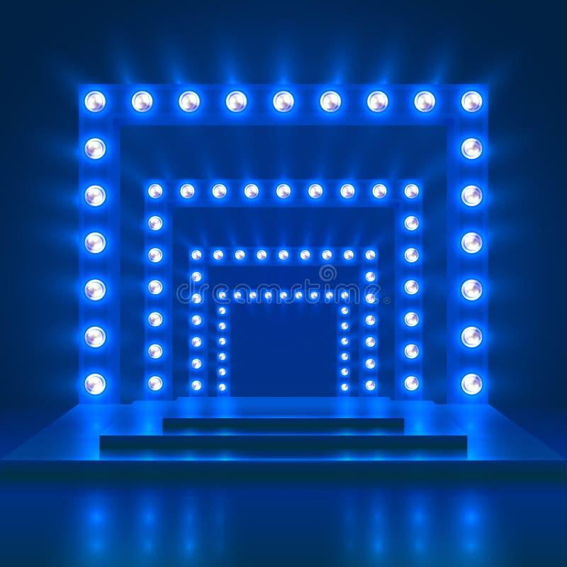 显示展示赌博娱乐场与阶段和轻的装饰的传染媒介背景 发光的舞蹈团指挥台 库存例证