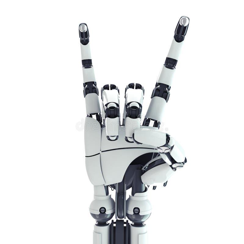 显示岩石符号的机器人胳膊 免版税库存图片