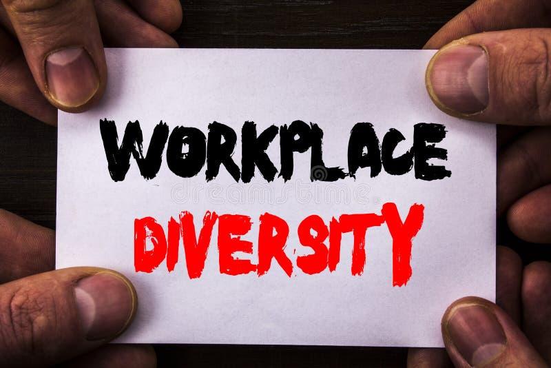 显示工作场所变化的概念性手文字文本 意味伤残的概念公司文化全球性概念书面 免版税库存图片