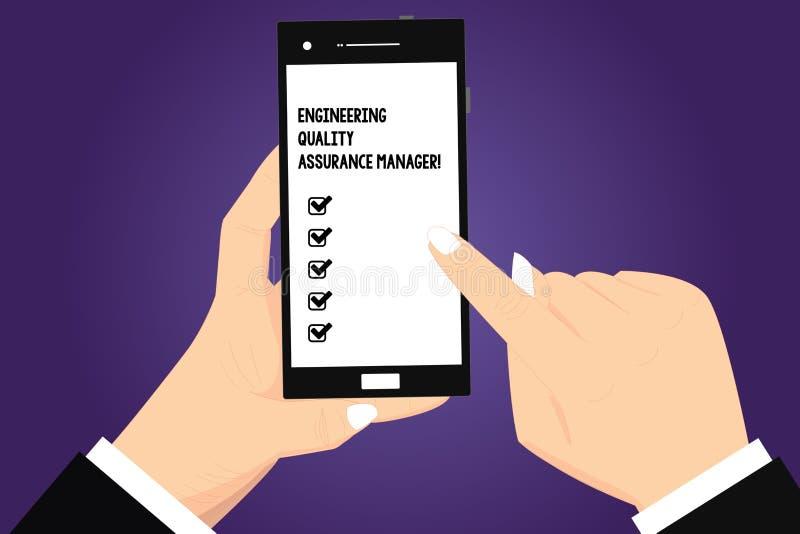 显示工程学质量管理经理的概念性手文字 企业照片文本评估产量控制胡 向量例证