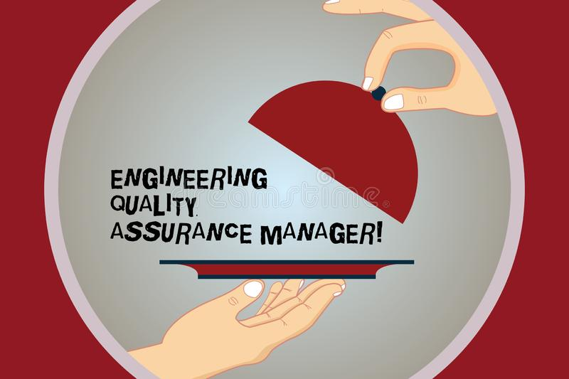 显示工程学质量管理经理的概念性手文字 企业照片文本评估产量控制 向量例证