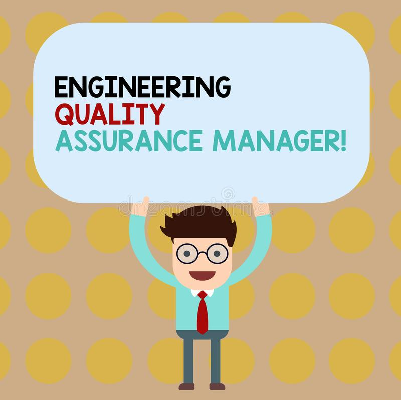 显示工程学质量管理经理的概念性手文字 企业照片陈列的评估生产 库存例证