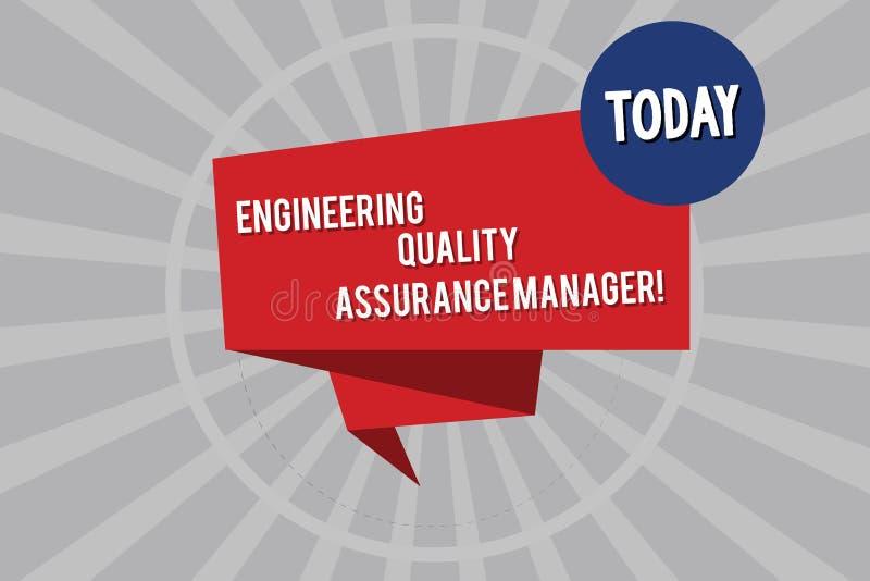 显示工程学质量管理经理的概念性手文字 企业照片陈列的评估生产 向量例证