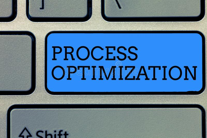 显示工艺过程最佳化的文本标志 概念性照片改进效率最大化生产量的组织 库存照片