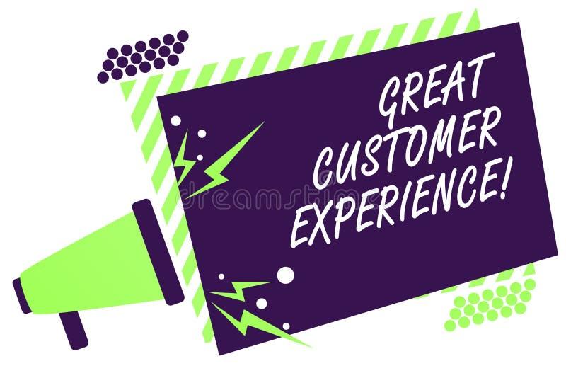 显示巨大顾客经验的文本标志 反应有友好的有用的方式扩音机的客户的概念性照片 向量例证