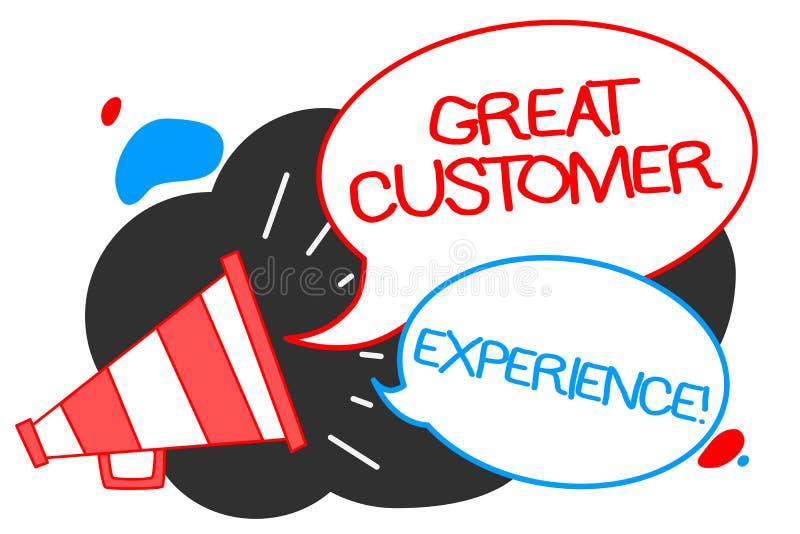 显示巨大顾客经验的文本标志 反应有友好的有用的方式扩音机loudspeake的客户的概念性照片 库存例证