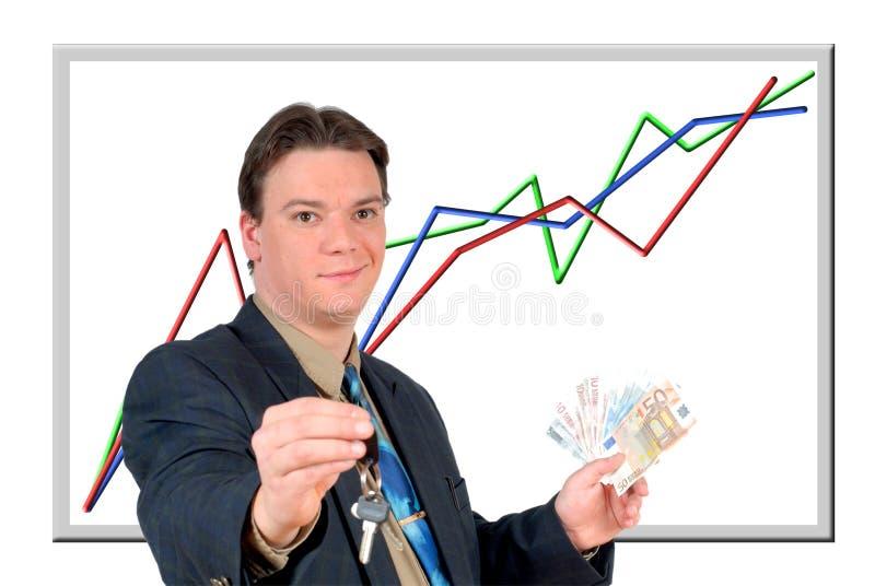显示年轻人的生意人欧洲货币 库存图片