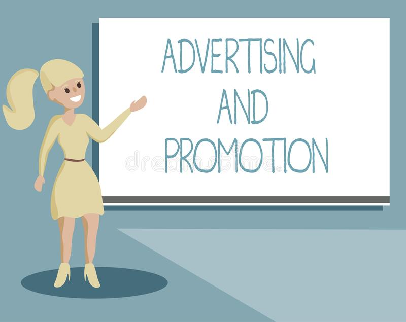 显示广告和促进的文字笔记 陈列受控制和被支付的销售的活动的企业照片  向量例证