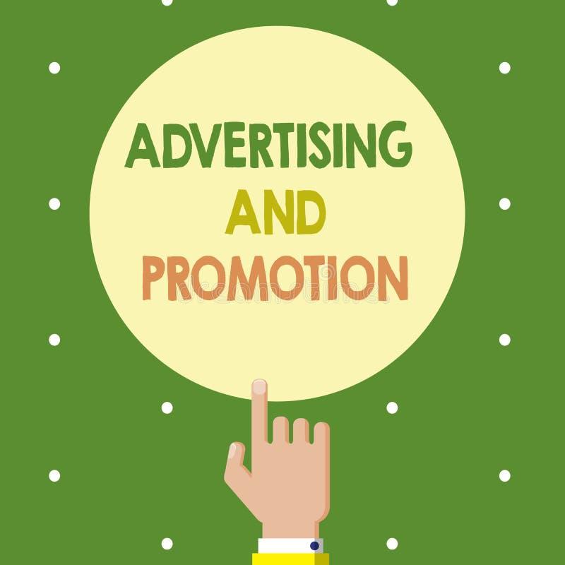 显示广告和促进的文本标志 概念性在媒介的照片受控制和被支付的销售的活动 库存例证