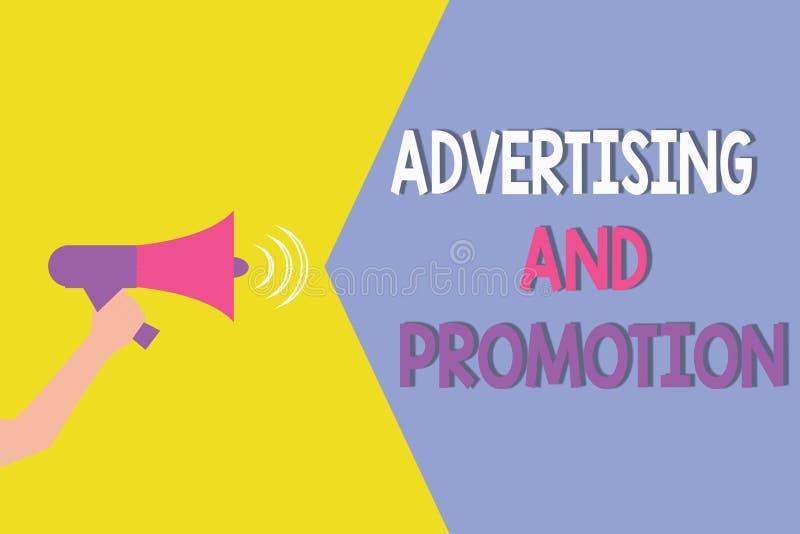 显示广告和促进的概念性手文字 陈列受控制和被支付的行销的企业照片 库存例证