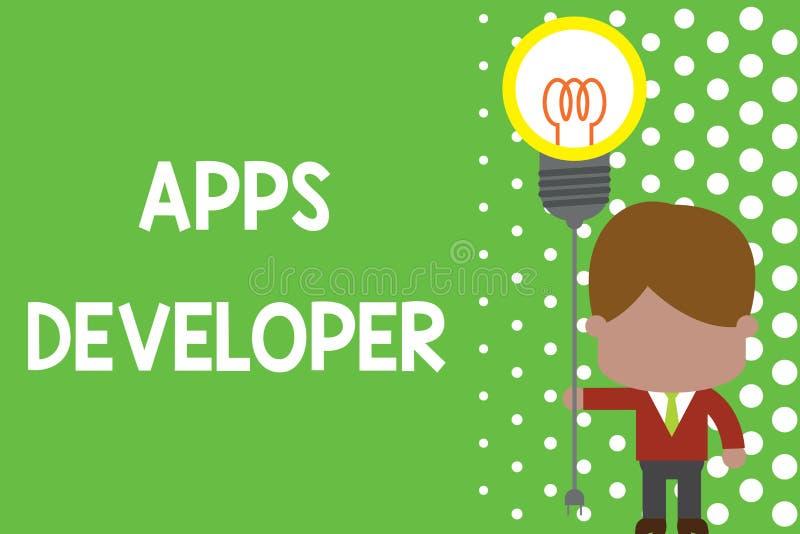 显示应用程序开发商的文本标志 站立人的概念性照片形象艺术家软件程序员和分析家专家 库存例证