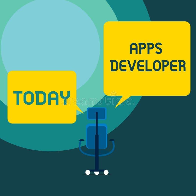 显示应用程序开发商的概念性手文字 企业照片文本形象艺术家软件程序员和分析家 皇族释放例证
