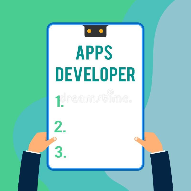 显示应用程序开发商的概念性手文字 企业照片文本形象艺术家软件程序员和分析家 库存例证
