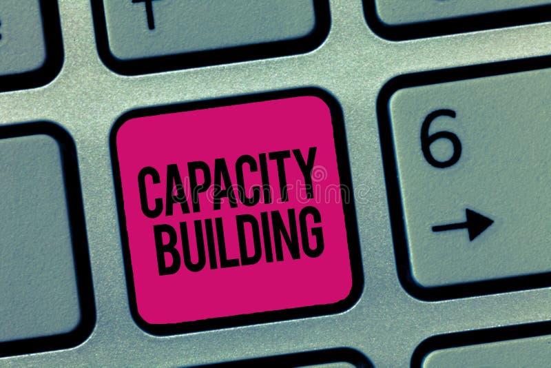 显示建筑物容纳力的文字笔记 企业照片陈列加强个体劳工的能力 免版税库存图片